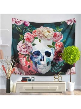 Artful Magnificent Floral Pattern Skull Pattern Decorative Hanging Wall Tapestry