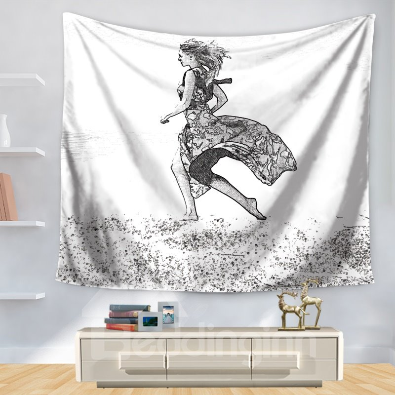 Stick Drawing Beautiful Girl Wears French Style Dress Running Pattern Decorative Hanging Wall Tapestry