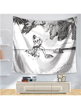 Sexy Woman with Bikini Seaside Casual Holiday Pattern Decorative Hanging Wall Tapestry