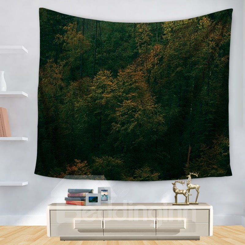 Gloomy Dark Background Forest Trees Pattern Decorative Hanging Wall Tapestry