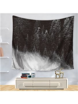 Dark Background Snowy Forest Pine Trees Pattern Decorative Hanging Wall Tapestry