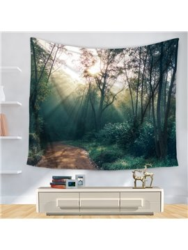 Beautiful Sunlight Sunset Forest Green Trees Pattern Decorative Hanging Wall Tapestry