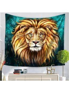 Watercolor Blue Artful King Animal Tiger Pattern Decorative Hanging Wall Tapestry