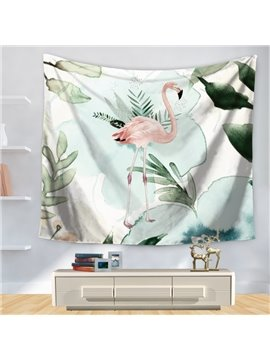 Watercolor Elegant Flamingo with Palm Leaves Nature Animal Theme Decorative Hanging Wall Tapestry