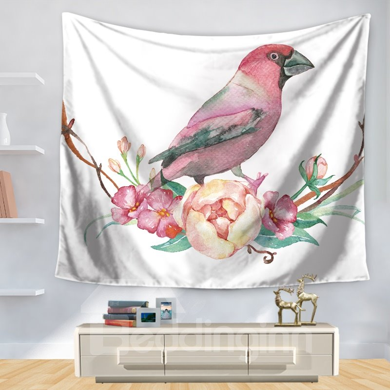Artful Watercolor Dainty Bird on Beautiful Flowers Pattern Decorative Hanging Wall Tapestry