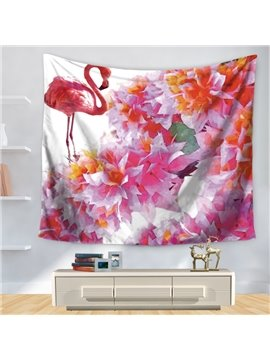 Artful Watercolor Dreamlike Pink Flamingo with Flowers Pattern Decorative Hanging Wall Tapestry