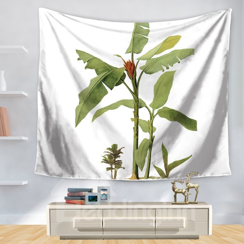 Simplex Green Palm Planet Nature Theme with White Bottom Color Pattern Decorative Hanging Wall Tapestry