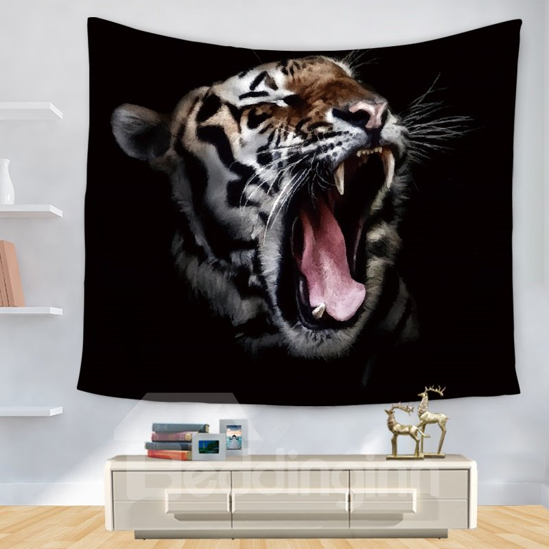 Animal Theme Fierce King Tiger with Black Bottom Color Pop Style Decorative Hanging Wall Tapestry