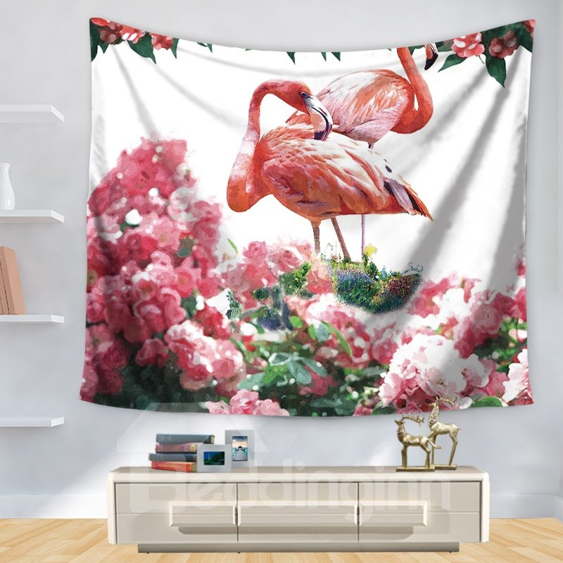 Animal Pink Flamingo with Beautiful Rhododendron Pattern Decorative Hanging Wall Tapestry