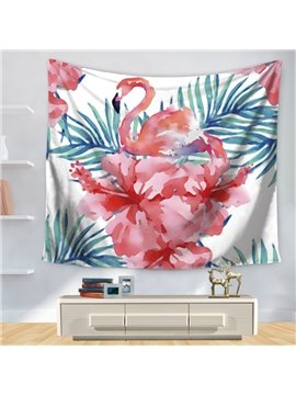 Watercolor Elegant Pink Flamingo with Flowers and Leaves Pattern Decorative Hanging Wall Tapestry