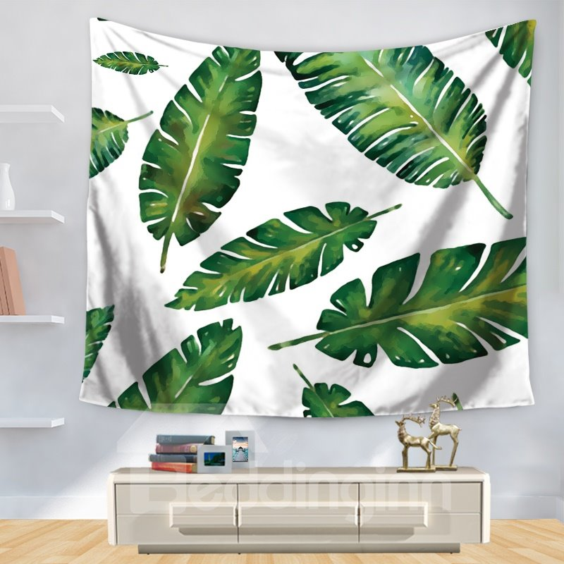 Watercolor Tropical Nature Palm Leaves Pattern Decorative Hanging Wall Tapestry