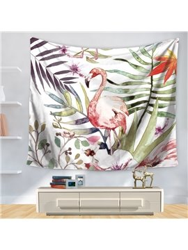 Artful Watercolor Pink Flamingo with Palm Leaves Pattern Decorative Hanging Wall Tapestry