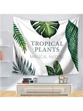 Green Palm Leaves Tropical Plants Fresh Style Decorative Hanging Wall Tapestry