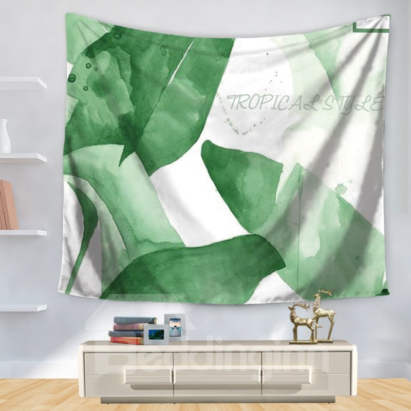 WatercolorGreen Banana Leaves Plant Tropical Fresh Style Decorative Hanging Wall Tapestry
