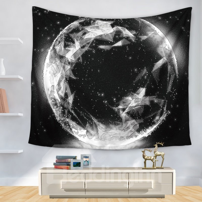 Moon Sparkle Stunning Universal Planet and Stars Pattern Black Decorative Hanging Wall Tapestry