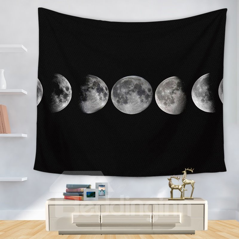 The Continuous Change of Moon Universal Pattern Dark Decorative Hanging Wall Tapestry