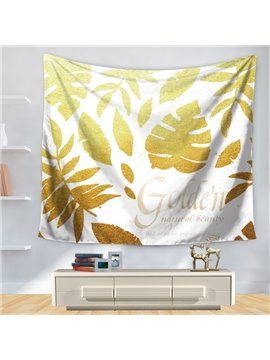 Gold Palm Leaves and Nature Beauty Fresh Style Decorative Hanging Wall Tapestry