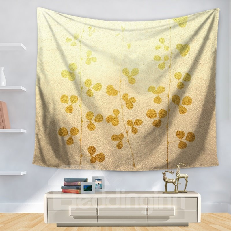 Gold Yellow Abstract Plant Artful Nature Theme Decorative Hanging Wall Tapestry