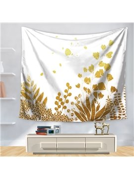 Golden Grain and Leaves Nature Theme White Decorative Hanging Wall Tapestry