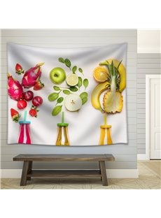 Summer Theme Pineapple with Lemon Drink Cool Style Decorative Hanging Wall Tapestry