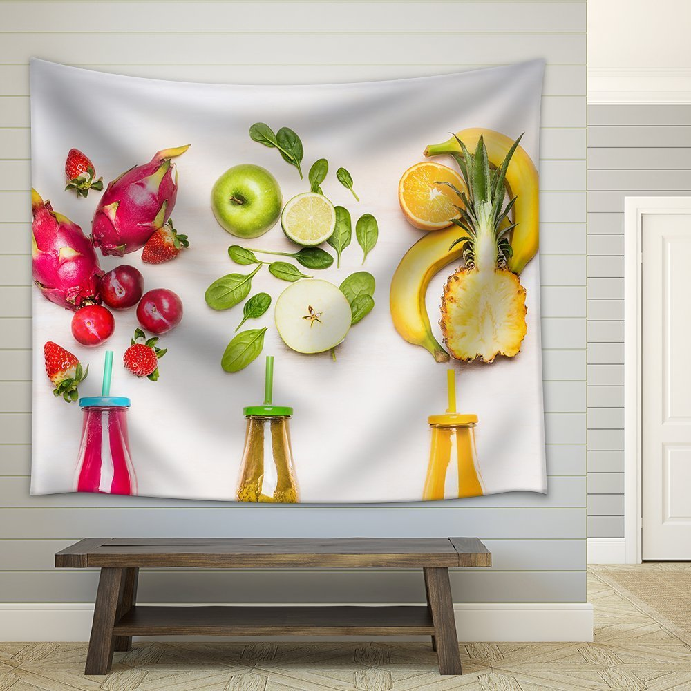 Summer Theme Pineapple with Fresh Cut Fruits Decorative Hanging Wall Tapestry