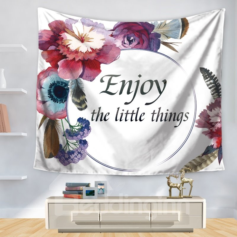 Fresh Style Floral Pattern and Words Print Decorative Hanging Wall Tapestry