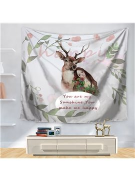 Fresh Style Wapiti with Maid and Green Leaves Print Decorative Hanging Wall Tapestry