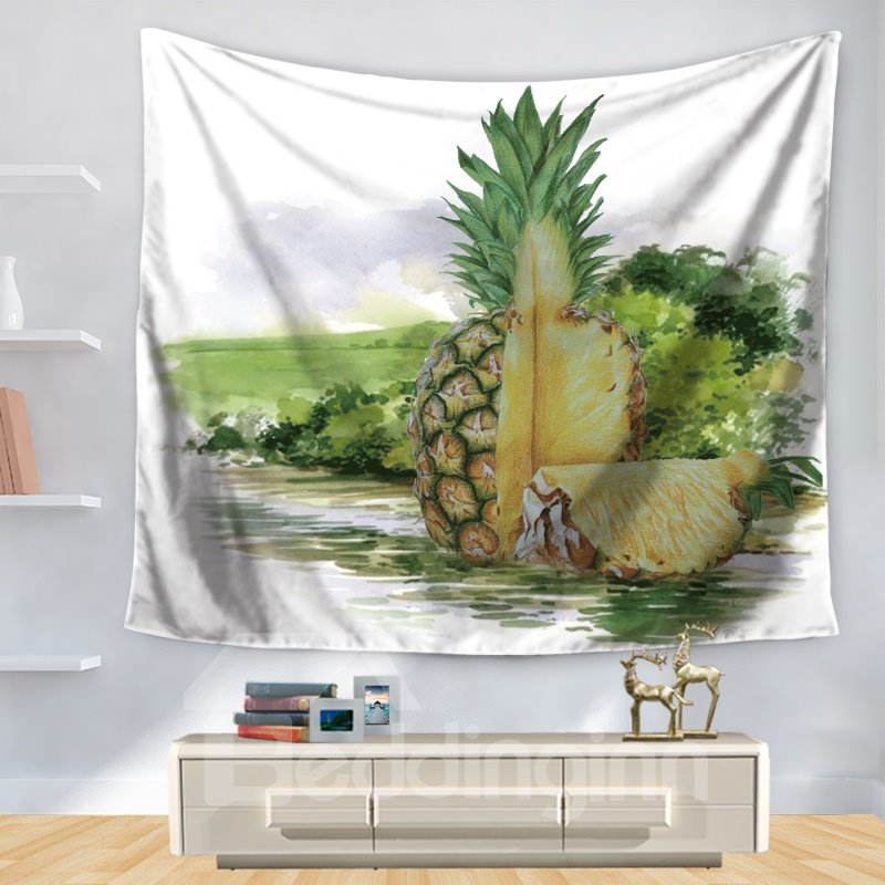 Cut off Pineapple Lakeside Nature Fruit White Decorative Hanging Wall Tapestry