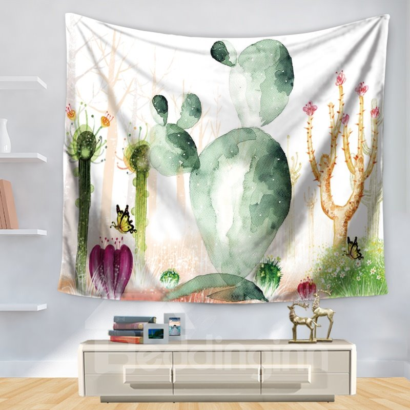 Watercolor Desert Plant Cactus with Butterfly Pattern Decorative Hanging Wall Tapestry