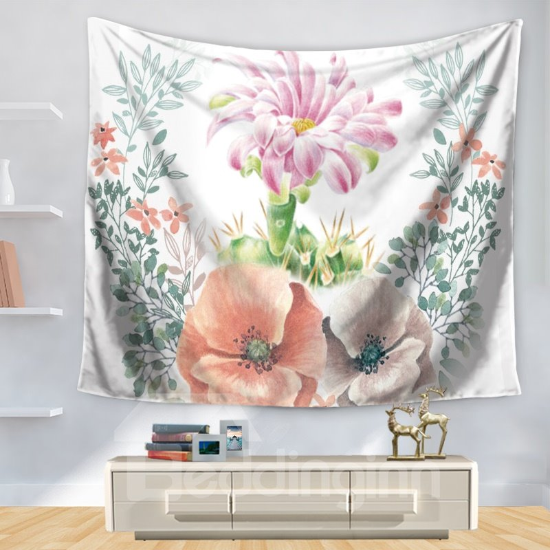 Artful Watercolor Floral Pink Flowers Garden Pattern Decorative Hanging Wall Tapestry
