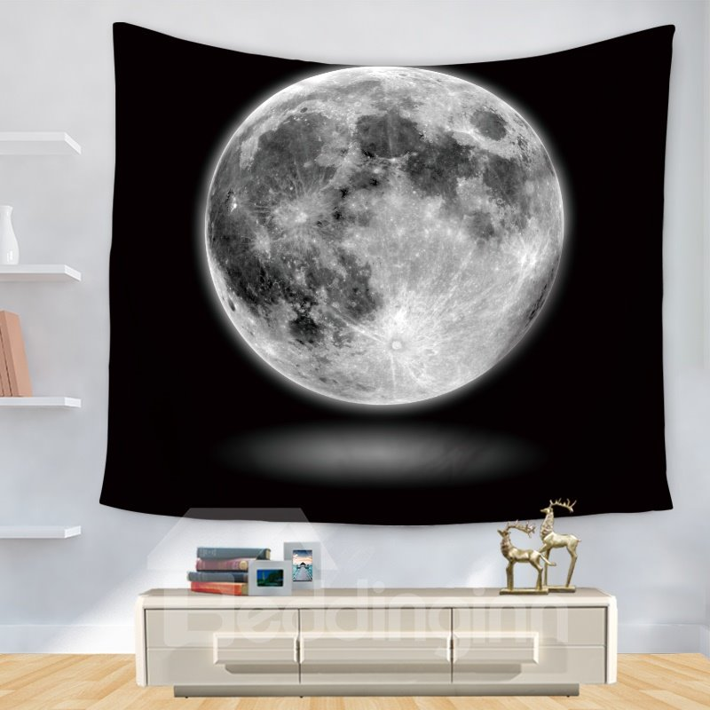 Universe Colossal Moon Pattern Black Decorative Hanging Wall Tapestry