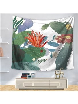 Floral Green Cactus Plant Colorful Tropical Theme with White Bottom Color Decorative Hanging Wall Tapestry