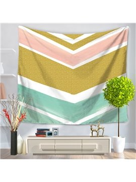 Zig Zag Gold Pink Nude Blue White Stripes Pattern Decorative Hanging Wall Tapestry