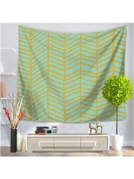 Artful Geometrical Vertical Gold Stripes Lines Pattern Green Decorative Hanging Wall Tapestry