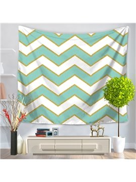 Vintage Popular Zig Zag Nudy Blue White Stripes Pattern Decorative Hanging Wall Tapestry