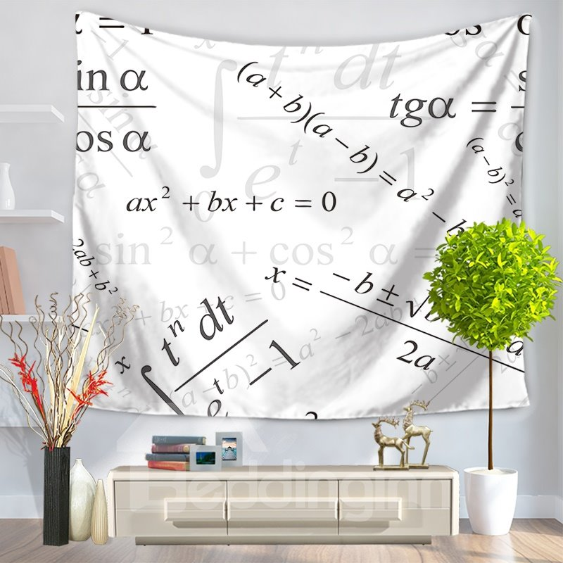 The Shadow of Function Mathematics Equation Pattern White Decorative Hanging Wall Tapestry