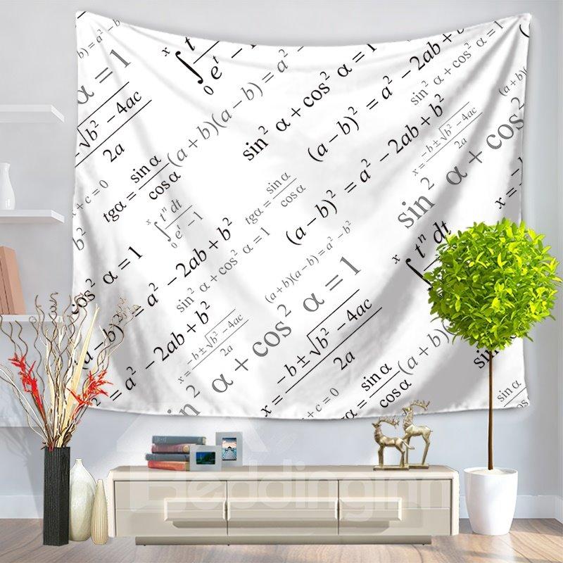 Trigonometric Function Mathematics Equation Pattern White Decorative Hanging Wall Tapestry