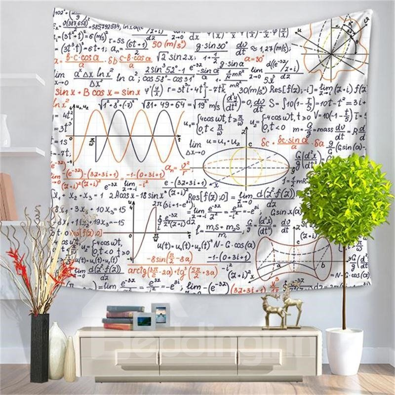 Mathematics an algebraic formula with White Bottom Color Pattern Decorative Hanging Wall Tapestry