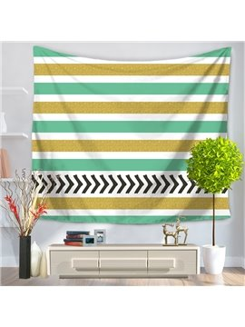 Vintage Black Zig Zag Yellow Blue White Stripes Pattern Decorative Hanging Wall Tapestry