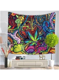 Abstract Colorful Animal and People Ethnic Style Decorative Hanging Wall Tapestry