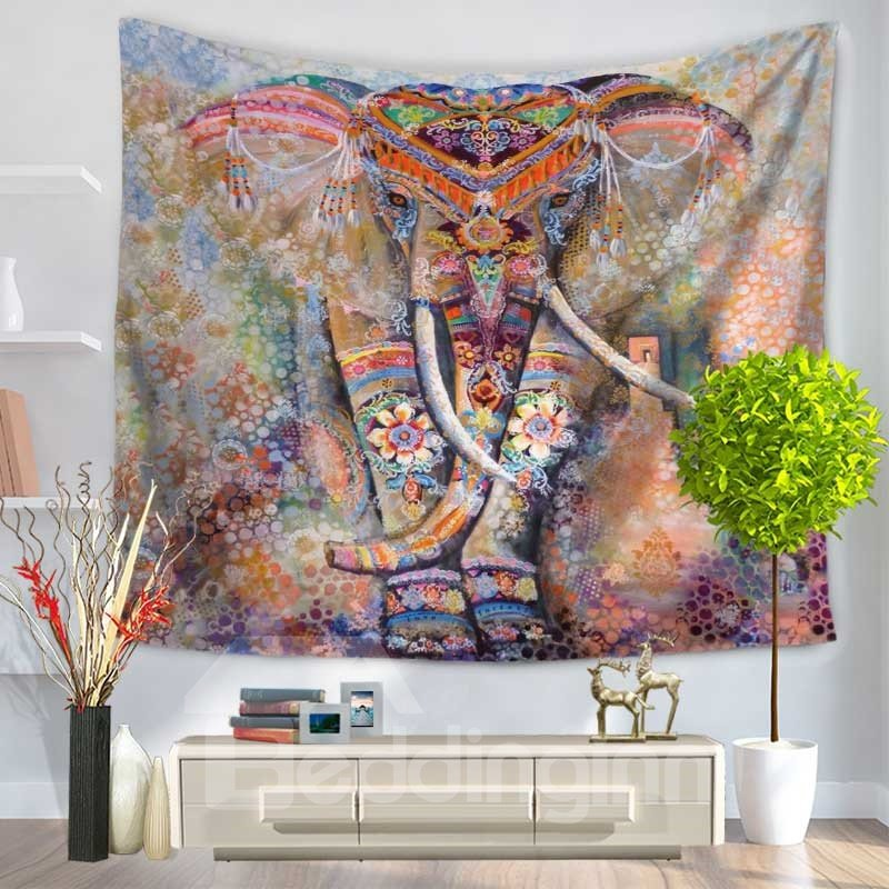 Watercolor Mandala Elephant Psychedelic Pattern Decorative Hanging Wall Tapestry