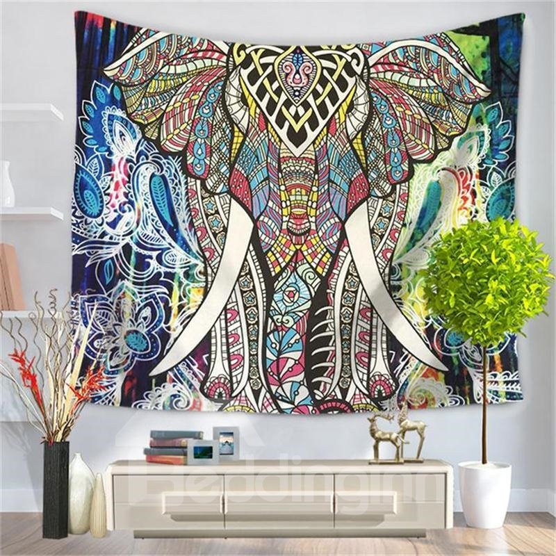 Bohemian Elephant Figure with Gypsy Embellishments Spiritual Oriental Figures Decorative Hanging Wall Tapestry