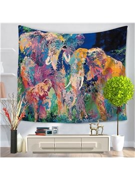 Artwork Watercolor Family Elephants Modern Style Decorative Hanging Wall Tapestry