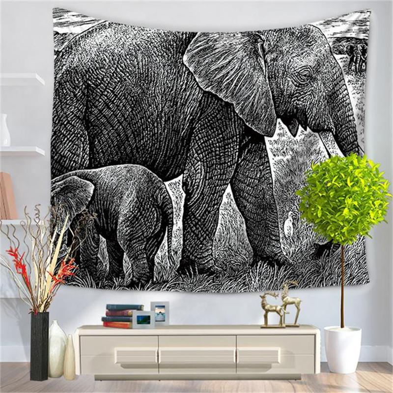 Pencil Sketch Parent-child Elephant Pattern Decorative Hanging Wall Tapestry