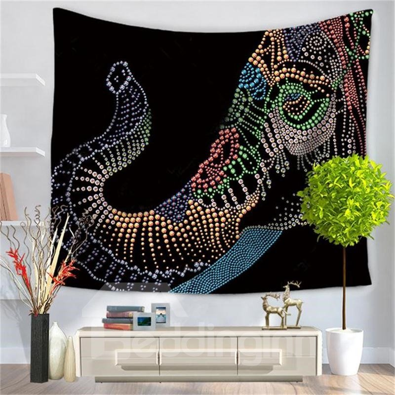 Bead Made Elephant Black Pattern Decorative Hanging Wall Tapestry