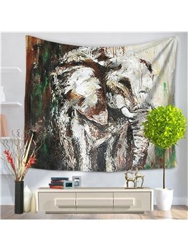 Artwork Oil Painting Oriental Elephant Pattern Decorative Hanging Wall Tapestry
