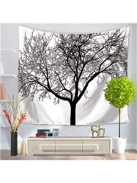Stick Drawing Branches of Trees White Decorative Hanging Wall Tapestry