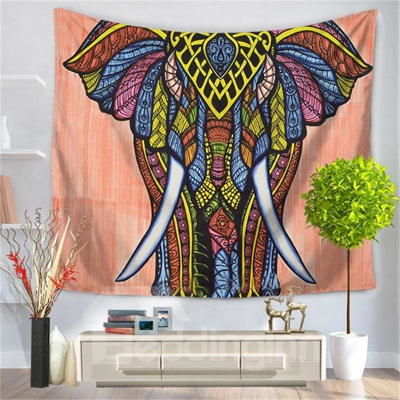 Bohemian Elephant Figure with Pink Bottom Color Decorative Hanging Wall Tapestry
