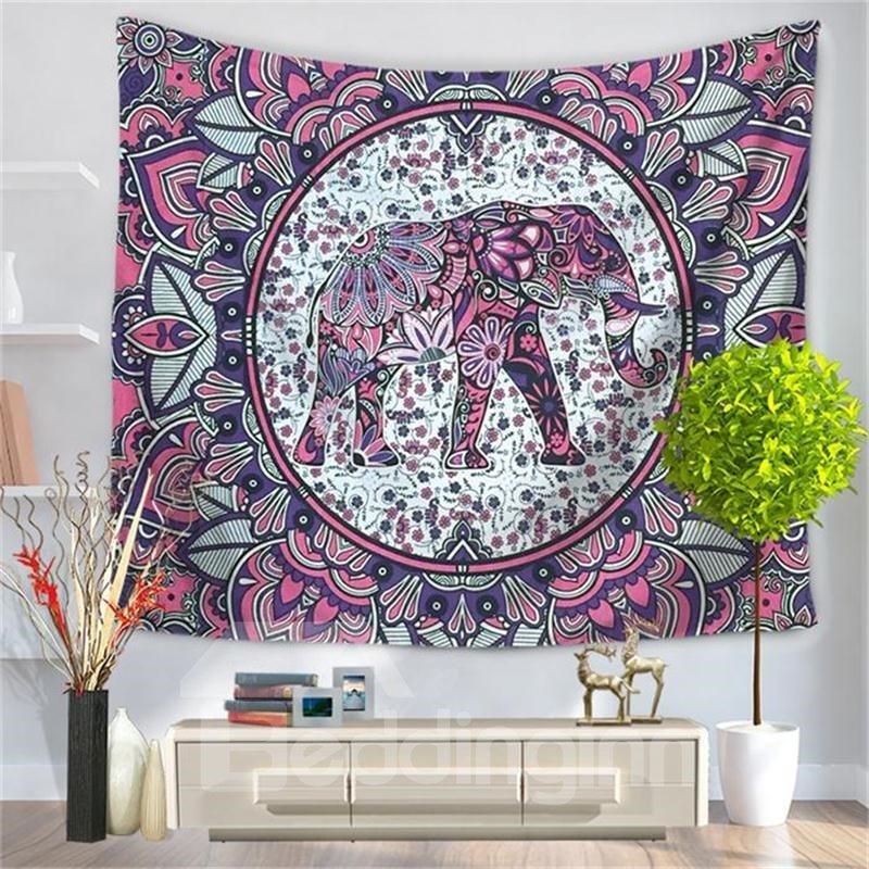 Purple Mandala Elephant PsychedelicCircle Ethnic Style Decorative Hanging Wall Tapestry