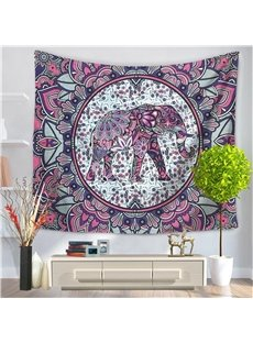 Purple Mandala Elephant Psychedelic Circle Ethnic Style Decorative Hanging Wall Tapestry